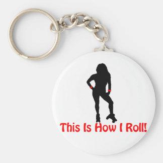 Roller Derby Roll Basic Round Button Keychain