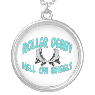 Roller Derby Roller Skating Silver Plated Necklace
