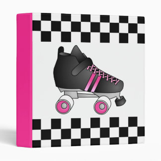 Roller Derby Skate Black and Pink Binder