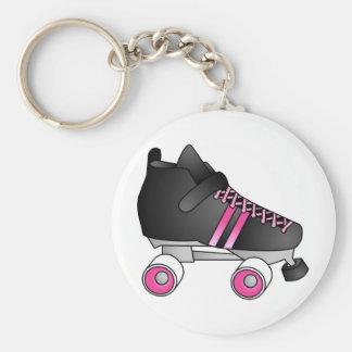Roller Derby Skate Black and Pink Basic Round Button Keychain