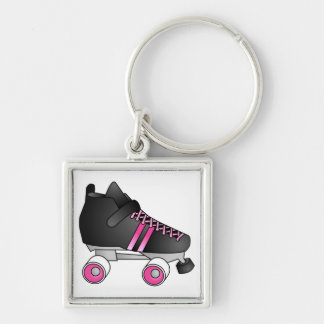 Roller Derby Skate Black and Pink Silver-Colored Square Keychain