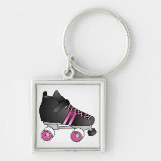 Roller Derby Skate Black and Pink Keychain