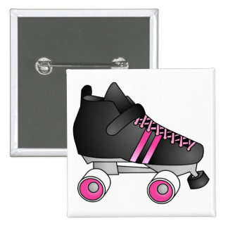 Roller Derby Skate Black and Pink Pinback Button