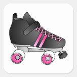 Roller Derby Skate Black and Pink Square Sticker