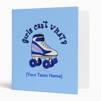 Roller Derby Skate - Blue 3 Ring Binder