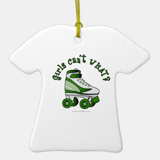Roller Derby Skate - Green Ceramic Ornament
