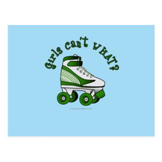 Roller Derby Skate - Green Postcard