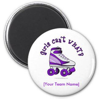 Roller Derby Skate - Purple 2 Inch Round Magnet