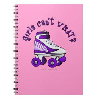 Roller Derby Skate - Purple Spiral Notebook