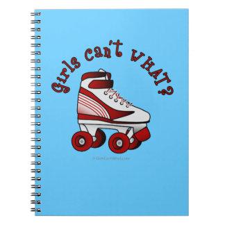 Roller Derby Skate - Red Spiral Notebook