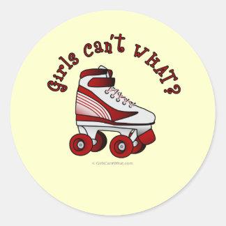 Roller Derby Skate - Red Classic Round Sticker