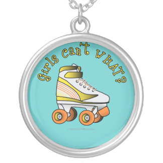 Roller Derby Skate - Yellow Silver Plated Necklace