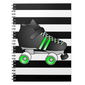 Roller Derby Skates Black and Green Spiral Notebooks