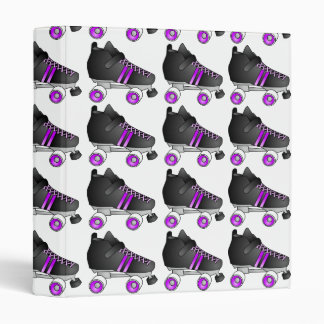 Roller Derby Skates Black and Purple 3 Ring Binder