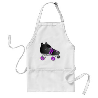 Roller Derby Skates Black and Purple Adult Apron
