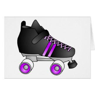 Roller Derby Skates Black and Purple Card