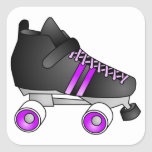 Roller Derby Skates Black and Purple Square Sticker