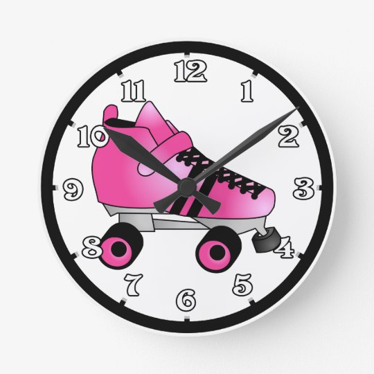 Roller Derby Skates Pink and Black Wall Clock