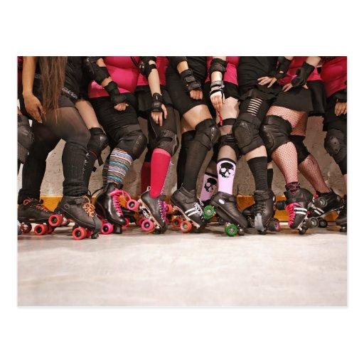 roller derby team postcard