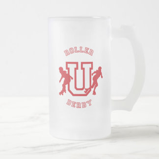 Roller Derby U Frosted Glass Beer Mug