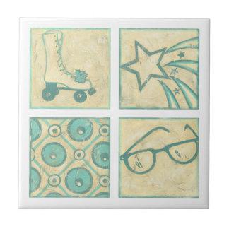 Roller Rink Woodblock Drawing by Chariklia Zarris Ceramic Tile