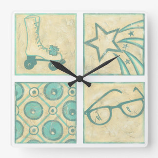 Roller Rink Woodblock Drawing by Chariklia Zarris Square Wall Clock