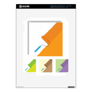 Roller rolling paint across the wall decal for iPad 3