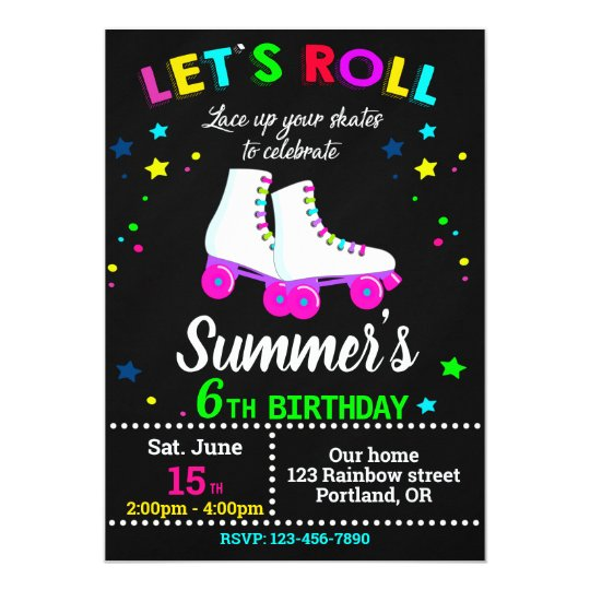 Roller Skate Birthday Invitation Skating Party