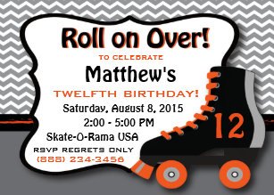 Roller skating invitations announcements zazzle roller skate birthday party invitation filmwisefo Gallery