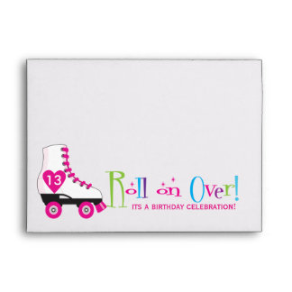 Roller Skate Birthday Party Invitation Envelope