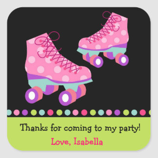 Roller Skate Birthday Thank you Favor Stickers