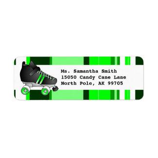 Roller Skate Black and Green Return Address Label