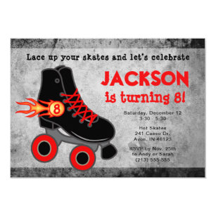 Roller Skate Extreme Boys Birthday Invitation