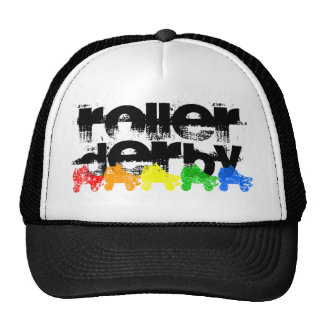 roller skate grunge rainbow mesh hats