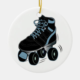 Roller Skate in Black Ceramic Ornament