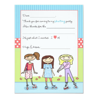 Roller Skate Party Fill-in-the-Blank Thank You Not Card