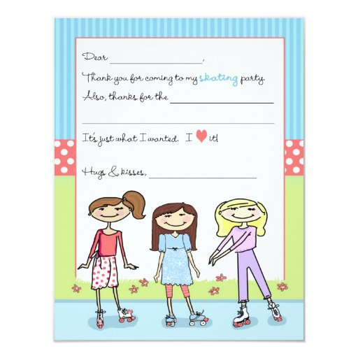 Roller Skate Party Fill-in-the-Blank Thank You Not 4.25x5.5 Paper Invitation Card | Zazzle