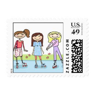 Roller Skate Party Postage Stamps: Girls