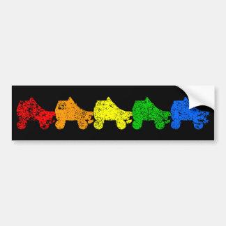 roller skate rainbow bumper sticker