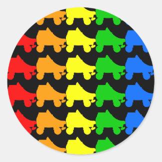 roller skate rainbow classic round sticker