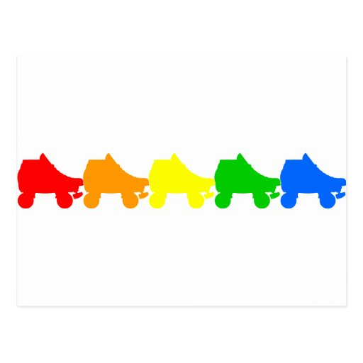 roller skate rainbow postcard