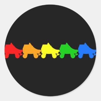 roller skate rainbow round stickers