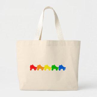 roller skate rainbow tote bag