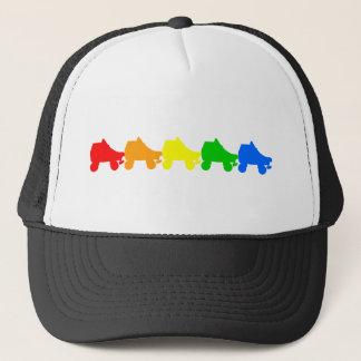 roller skate rainbow trucker hat