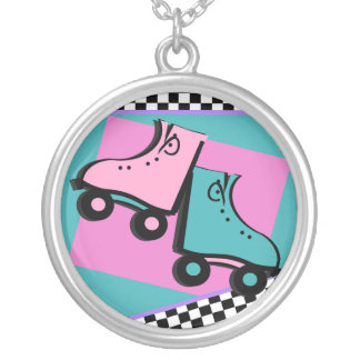 Roller Skate/ Retro Silver Plated Necklace