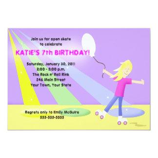 "ROLLER SKATE Rollerskating 5x7 Birthday - Blonde 5"" X 7"" Invitation Card"