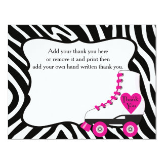 "Roller Skate Thank You Card 4.25"" X 5.5"" Invitation Card"
