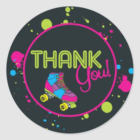 Roller Skate Thank You Stickers Zazzle Com