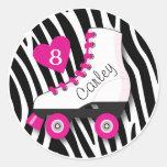Roller Skate Zebra Sticker Round Sticker