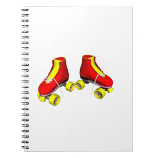 roller skates red & yellow spiral notebooks